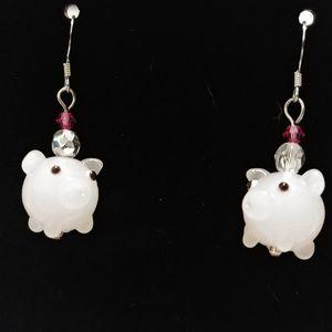 Handmade pink pig glass earrings